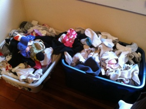 Exhibit A: This is not a Google image. This is an actual picture of the monstrosity known as our sock baskets.